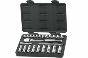 Gearwrench 80559 3 8 Dr 24pc Metric 6 12pt Socket Standard Deep Tool Set