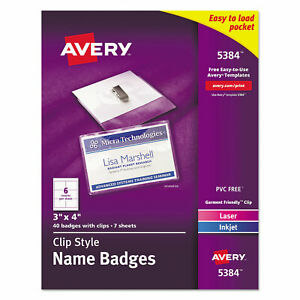 Clip style Name Badge Holder With Laser inkjet Insert Top Load 4 X 3 White 4