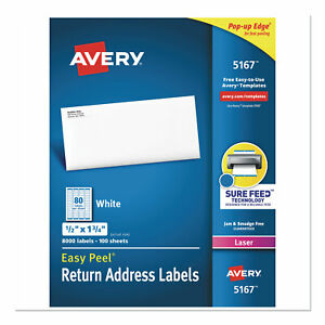 Easy Peel White Address Labels W Sure Feed Technology Laser Printers 0 5 X 1
