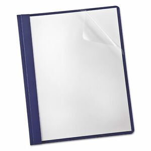 Linen Finish Clear Front Report Cover 3 Fasteners Letter Navy 25 box