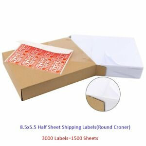3000 Half Sheet Shipping Address Labels 8 5x5 5 Blank Self Adhesive Round Corner