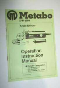Metabo Ew 9150 Angle Grinder Operation Instruction Manual
