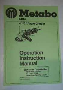 Metabo 6014 4 1 2 Angle Grinder Operation Instruction Manual