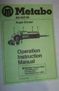 Metabo Ag 650 Sl Angle Grinder Operation Instruction Manual