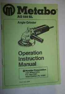 Metabo Ag 550 Sl Angle Grinder Operation Instruction Manual