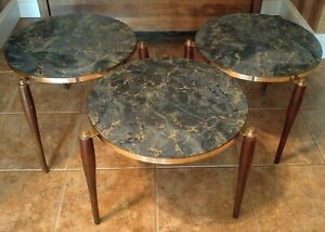 3 Mcm Vtg Faux Marble Nesting Tables Wood Pencil Legs Stackable Side End Tables