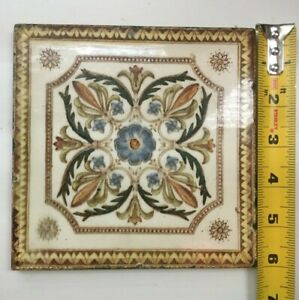 Antique Victorian Aesthetic Movement Floral Tile