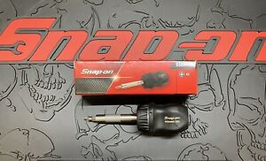 Snap on Tools Stubby Black Hard Grip Ratcheting Screwdriver Ssdmr1a Brand New