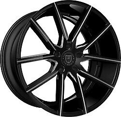 24x9 Lexani 662 Gravity Gloss Black Milled Wheels 5x115 15mm Set Of 4