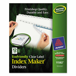 Index Maker Ecofriendly Print And Apply Clear Label Dividers With White Tabs 12