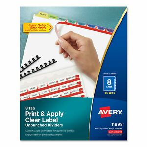 Print And Apply Index Maker Clear Label Unpunched Dividers 8 tab Ltr 25 Sets