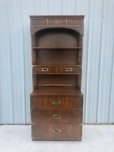 Mid Century Modern Campaign Style Five Drawer Shelving Unit
