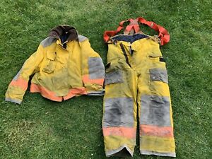 Uscg Fdjanesville Tan Firefighter Pants Jacket Turnout Fire Gear Coast Guard