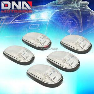 For 99 01 Dodge Ram Truck 5x Chrome Cab Roof Top White Led Marker Lights Lamps