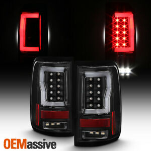 For 2004 2008 Ford F150 Styleside V2 Light Bar Led Black Tail Lights Lh Rh Pair