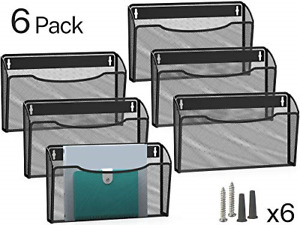 Mesh File Holder Wall Organizer 6 Pockets Hanging Wall Mounted Holders Home O