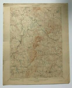 Antique 1914 Geological Survey Topographic Map Nh Peterborough Temple Others