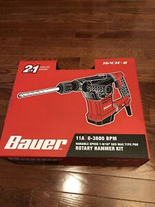 Bauer Rotary Hammer Drill Sds Max type Pro Variable Speed 11a New