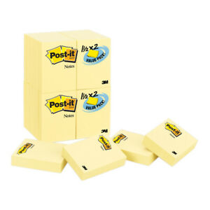 Post it Notes Value Pk 24 Pads Canary Yellow 1 1 2 X 2