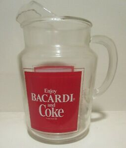 Vintage Enjoy BARCARDI RUM and COCA COLA Glass Pitcher