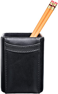 Dacasso Black Leather Pencil Cup