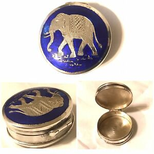 Antique Sterling Silver Elephant Blue Enamel Small Round Trinket Box 1 1 4