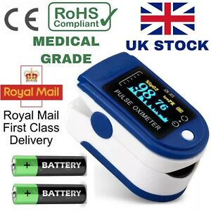 Uk Fingertip Pulse Oximeter Oxygen Saturation Meter Spo2 Pr Blood Monitor