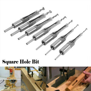 7x Square Hole Saw Auger Mortise Drill Bit Set Mortising Chisel Woodworking Tool