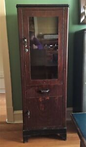 Vintage Art Deco Metal Medical Display Cabinet Faux Wood Grain Shampaine Co