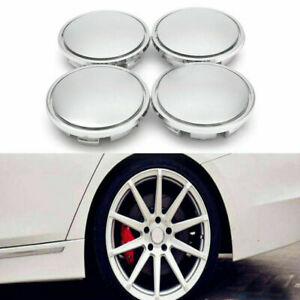 4 76mm Chrome Car Wheel Center Caps Tyre Rim Hub Cap Cover Abs Universal Emblem