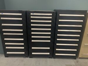 Lot Of 3 Stanley Vidmar Tool equipment Storage Cabinet 9 9 10 Drawers