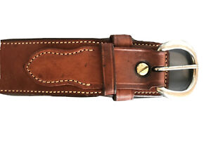 Bianchi B3 Preowned Plain Brown Leather Police Duty Belt Size 38 With Buckle