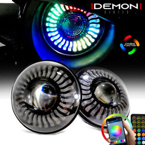7 Dual Beam Led Headlight Rgb Flowing Angel Eyes Drl Halos For Jeep Wrangler Jk