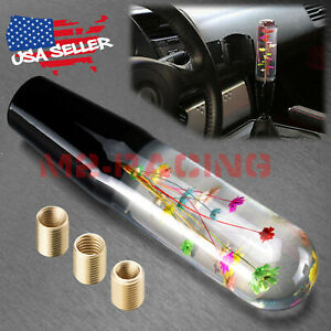 Universal Vip 20cm Racing Clear Crystal Real Flowers Shift Knob Head Manual
