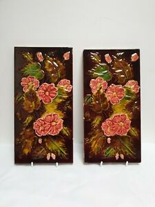 Antique Pair Of Victorian 12 X 6 Moulded Majolica Glazed Tiles Godwin