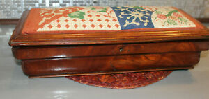 Antique Burl Wood Jewelry Box 16 By 7 By 5 Inches