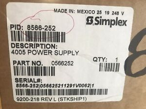 Simplex 4005 Power Supply And Power Distribution Board 8566 252 566 251 A