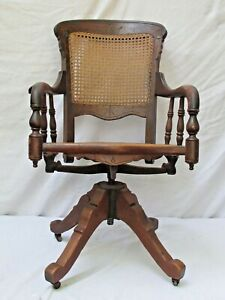 Antique Victorian Cane Back And Seat Swivel Desk Chair