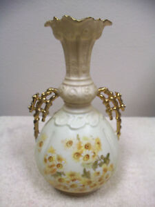 Antique Rudolstadt Porcelain Vase Yellow White Flowers With Gold Highlights