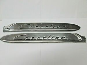 Used 1953 53 Ford Crestline Fender Name Plate Moldings Bf 161188 b