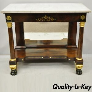 19th Century French Empire Marble Top Bronze Ormolu Paw Feet Console Hall Table