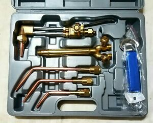 New Victor Style Cutting Welding Torch Set Attachment Handle Brazing Tip Set