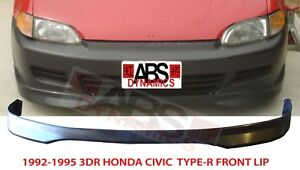 Type R Style Front Lip For 1992 1995 Honda Civic 2 3dr Unpainted Polyproplyene