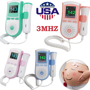 Lcd Fetal Doppler 3mhz Probe Ultrasound Prenatal Baby Heart Beat Rate Monitor Us