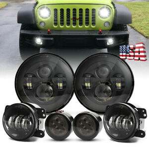 7 Round Led Headlight Fog Driving Light Turn Signal Kit For Jeep Wrangler 07 17