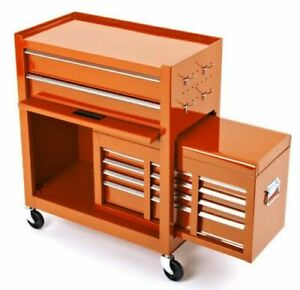 Biketek Rolling Tool Cabinet With Top Chest In Orange