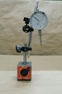 Vintage Mitutoyo Magnetic Base 7010 With Arms 2 25 001 0 1 Dial Indicator