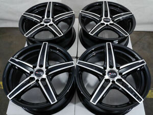 14 4x100 4x114 3 Black Rims Fits Mazda2 Accord Integra Civic Mr2 4 Lug Wheels