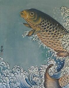 Very Fine Korean Minhwa Folk Hand Painting Jumping Koi Carp Signed