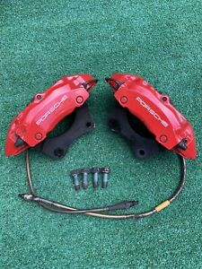 Read 97 04 Porsche Boxster 986 Front Set Pair Brembo Brake Calipers Red